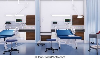 Empty hospital beds in emergency room interior 3D - Row of...