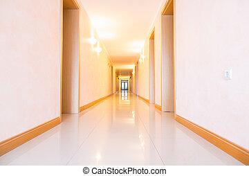 Empty hotel hallway