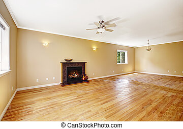 Empty house. Living room with fireplace