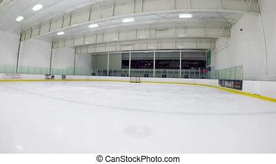Modern empty ice hockey venue 4k