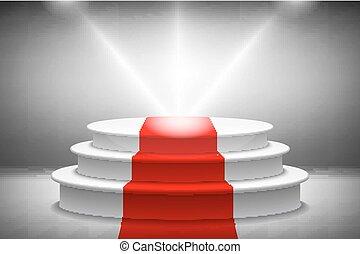 Empty illuminated podium for award ceremony. Vector illustration.