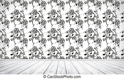 Empty Interior Background With Floral