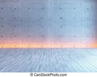 empty interior design with under light concrete wall