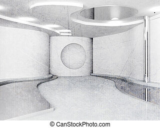 empty interior in white