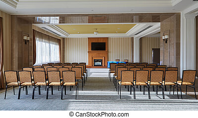 Empty interior of conference hall.