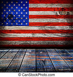 empty interior room with american flag colors ready for product montage