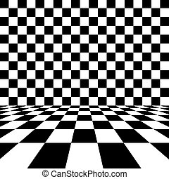 Empty interior with checkered marble floor