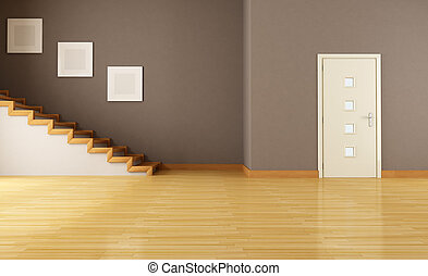 empty interior with door and staircase - empty brown...