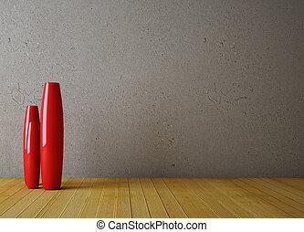 Empty interior with red vase