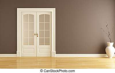 empty brown interior with classic sliding door - rendering