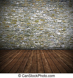 Empty interior with stone wall