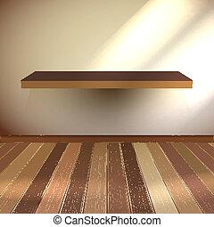 Empty interior with wood shelf. EPS 10