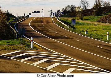 Empty interurban freeway road in France - Empty asphalt road...