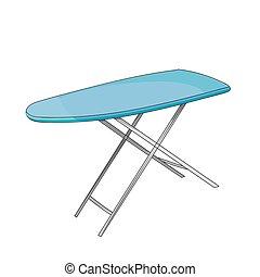 Empty ironing board isolated on white background