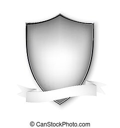 Empty isolated metal shield on white. Vector format