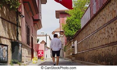 Empty Istanbul Turkish Flag. No People. Quarantine days. 4K Footage in Turkey