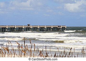 Empty Jacksonville Beach Pier along the Atlantic Coast