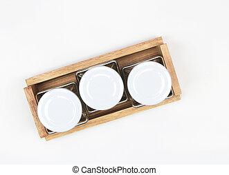 Empty jar isolated on white background