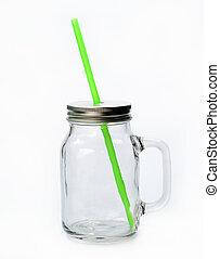 Empty jar with Straw on white background
