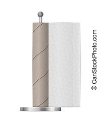 Empty kitchen paper roll on a white background. Vector illustration.