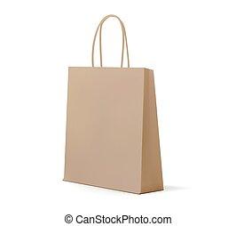 Empty kraft Brown Shopping Bag for advertising and branding. MockUp Package. Vector Illustration.