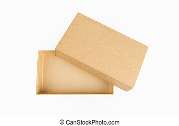 empty kraft paper box isolated