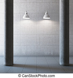 Empty large concrete hall with columns and illumination lamp