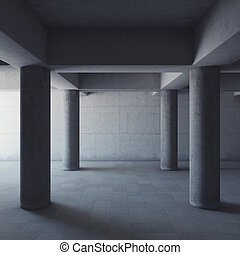 Empty large concrete hall