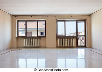 Empty large room interior with marble floor