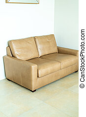 empty leather sofa in living room