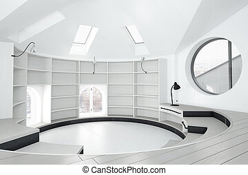 Empty library room with round windows and bright exterior