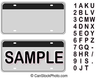 Empty License Plate With Editable Live Texts