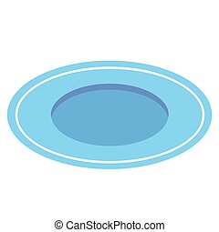 Empty light blue plate isolated on white background. View from above. Vector illustration.