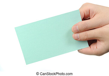 Empty light green business card in a woman's hand
