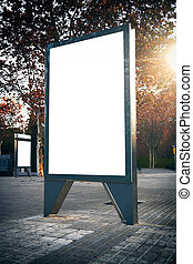 Empty lightbox on the city streets. Vertical