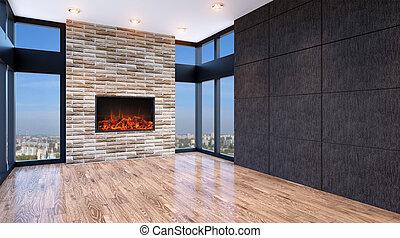 Empty living room. Empty interior. 3d render