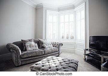 Empty Living Room - Horizontal shot of an empty living room.