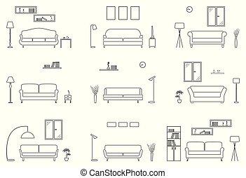 Empty living room icon set