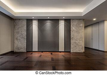 Empty living room in grey color