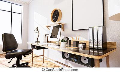 Empty - Living Room white brick wall Loft Style Interior Design. 3D Rendering