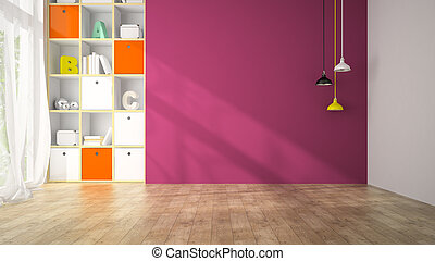 Empty living room with purple wall 3D rendering