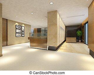 empty lobby interior - rendering empty lobby interior.
