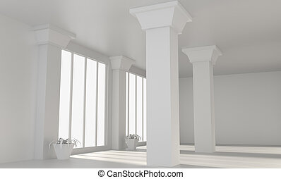 Empty loft room with columns. 3D rendering.
