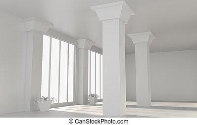Empty loft room with columns. 3D rendering.