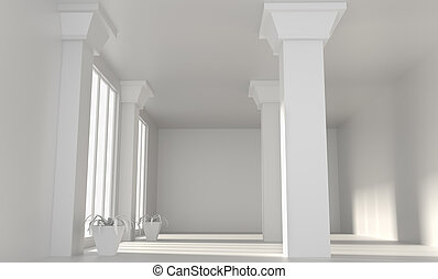 Empty loft room with white walls and columns.