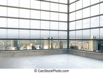 Empty loft room with windows in floor and city view