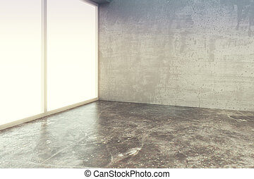 Empty loft style room with concrete floor and wall