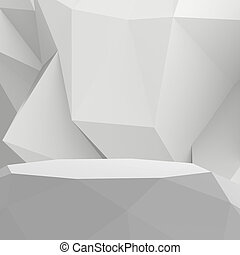 Empty low poly laminate shelf on laminate table and low poly geometric background