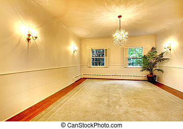 Empty luury antique large dining room interior with white ...