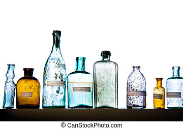 magic bottles - Empty magic bottles on white background